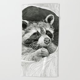 Raccoon In A Hollow Tree Drawing Beach Towel