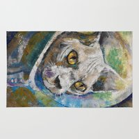 space cat Area & Throw Rugs featuring Space Cat by Michael Creese
