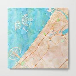 Dubai UAE city watercolor map print Metal Print