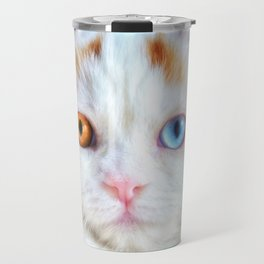 Odd-Eyed White Persian Kitten Travel Mug