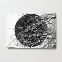 Dark sphere, abstract photo art of tree branches Metal Print