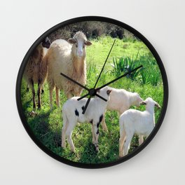 Two Ewes and Three Lambs Grazing Wall Clock