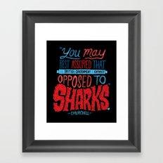 Opposed to Sharks Framed Art Print