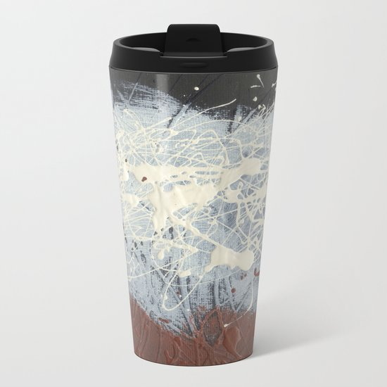 Cool Pollock Rothko Inspired Black White Red Abstract - Modern Art Metal Travel Mug