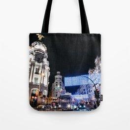 Gran Via Street at Night Tote Bag