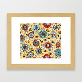 Bees & Blooms Framed Art Print