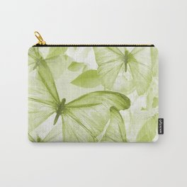Butterflies And Flowers Green Illustration On White  Carry-All Pouch