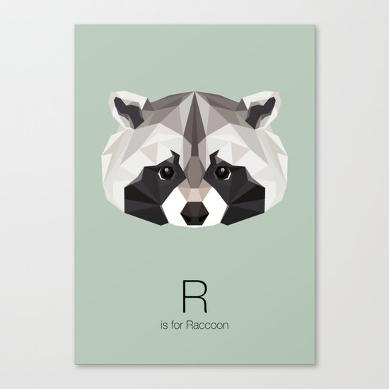 R is for Raccoon Canvas Print