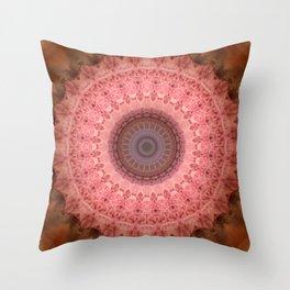 Mandala in brown and pink tones Throw Pillow