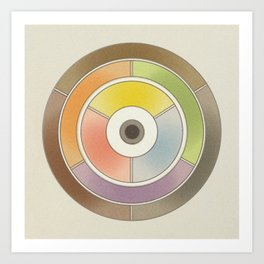The theory of colouring - Diagram of colour by J. Bacon, 1866, Remake, vintage wash (no text) Art Print