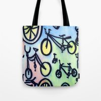bikes Tote Bags featuring Bikes by JustinPotts