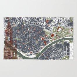 Seville city map engraving Rug