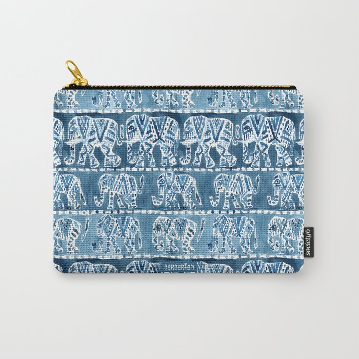 ELEPHANT SAFARI Tribal Indigo Ikat Pattern Carry-All Pouch