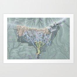 Bridger Bowl Resort Trail Map Art Print