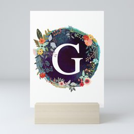 Personalized Monogram Initial Letter G Floral Wreath Artwork Mini Art Print