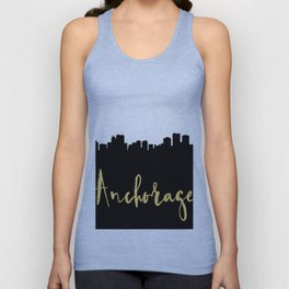 ANCHORAGE ALASKA DESIGNER SILHOUETTE SKYLINE ART Unisex Tank Top