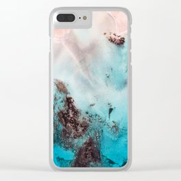 Pink Coral Coastline Clear iPhone Case