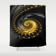 Fractal Shell Black Gold Shower Curtain