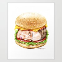 burger Art Prints featuring Burger by Creadoorm