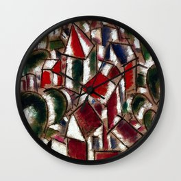 Village in the Forest, Paris, France landscape painting by Fernand Leger Wall Clock