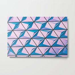 Blue Purple Geometric Triangle Pattern Metal Print