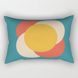 Minimalist Mid Century Circles Yellow on Blue Rectangular Pillow