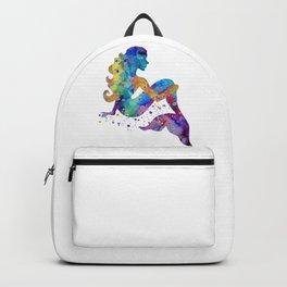 Mermaid Art Mermaid Sitting Colorful Watercolor Artwork Mermaid Lovers Gift Backpack