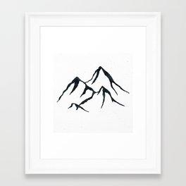 MOUNTAINS Black and White Framed Art Print