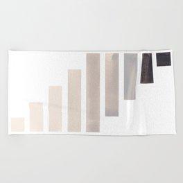 Grey Midcentury Modern Minimalist Staggered Stripes Rectangle Geometric Aztec Pattern Watercolor Art Beach Towel
