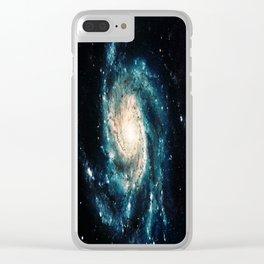 Ocean Blue Teal Spiral Galaxy Clear iPhone Case