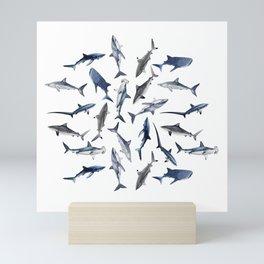 SHARKS PATTERN (WHITE) Mini Art Print