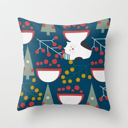 The red-nosed kitty Throw Pillow