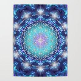 Flower Of Life Mandala Fractal turquoise Poster