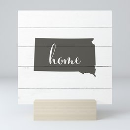 South Dakota is Home - Charcoal on White Wood Mini Art Print
