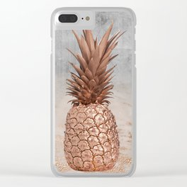 Pineapple in Glitter Marble Rose Gold And Concrete Clear iPhone Case