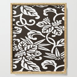 Espresso Brown Japanese Leaf Pattern Serving Tray