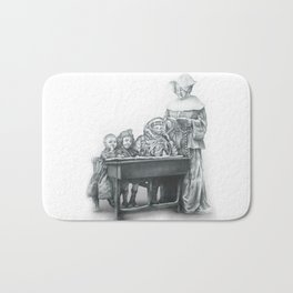 In which a cosmonaut is rendered quizzical Bath Mat