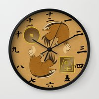 the last airbender Wall Clocks featuring Avatar The Last Airbender Earth Clock Face by Art of Sara