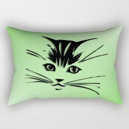 Green Cat Face Rectangular Pillow