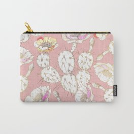 Modern white gold blush pink catus floral Carry-All Pouch