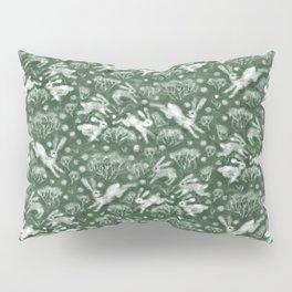 Hares Field, Jumping Rabbits Winter Holidays Pattern, Green White Pillow Sham