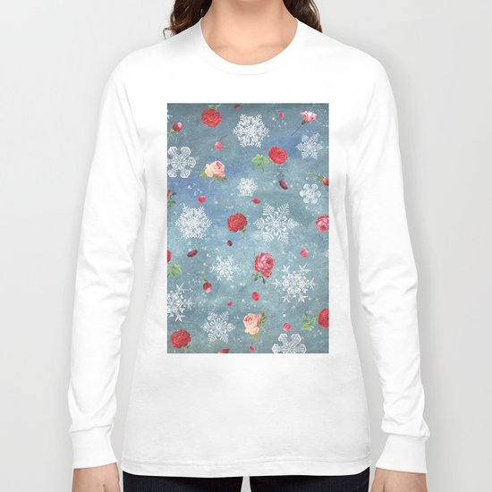Snow and Roses Long Sleeve T-shirt