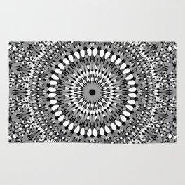 Grey Ornate Gravel Mandala Rug