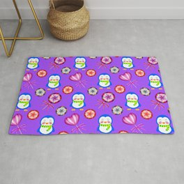 Funny happy smiling baby penguins and sweet vintage retro lollipops. Nursery purple pattern Rug