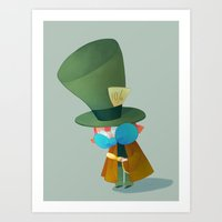 mad hatter Art Prints featuring Mad Hatter by Kat Stilwell