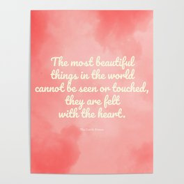 The most beautiful things... The Little Prince quote Poster