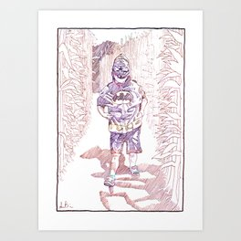 Boy Dressed as a Bat in a Corn Maze by Aaron Bir Art Print