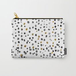 Dots Gold Black and White Carry-All Pouch