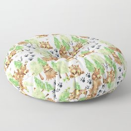 Honey Bears Woodland Animal Pattern Floor Pillow
