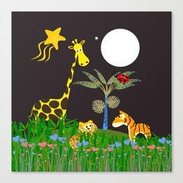 Giraffe, Tiger, Lion & White Moon Canvas Print